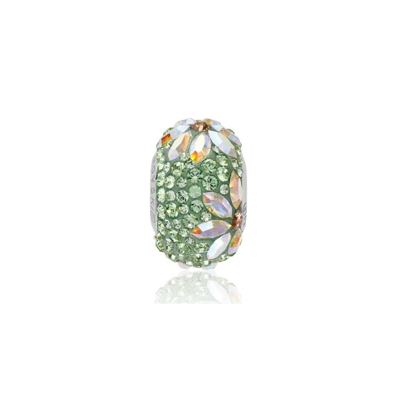 14mm BeCharmed Pavé Daisy 81743 Green Helmed Swarovski Elements