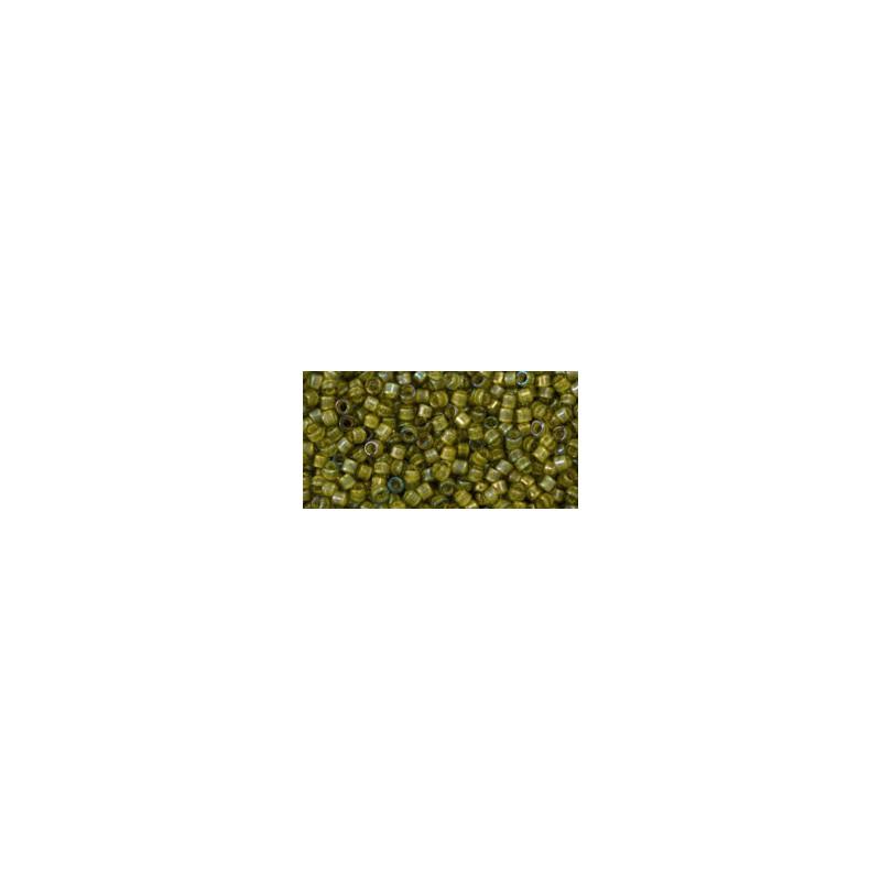 TT-01-246 Inside-Color Luster Black Diamond/Opaque Yellow Lined TOHO Treasures Seed Beads