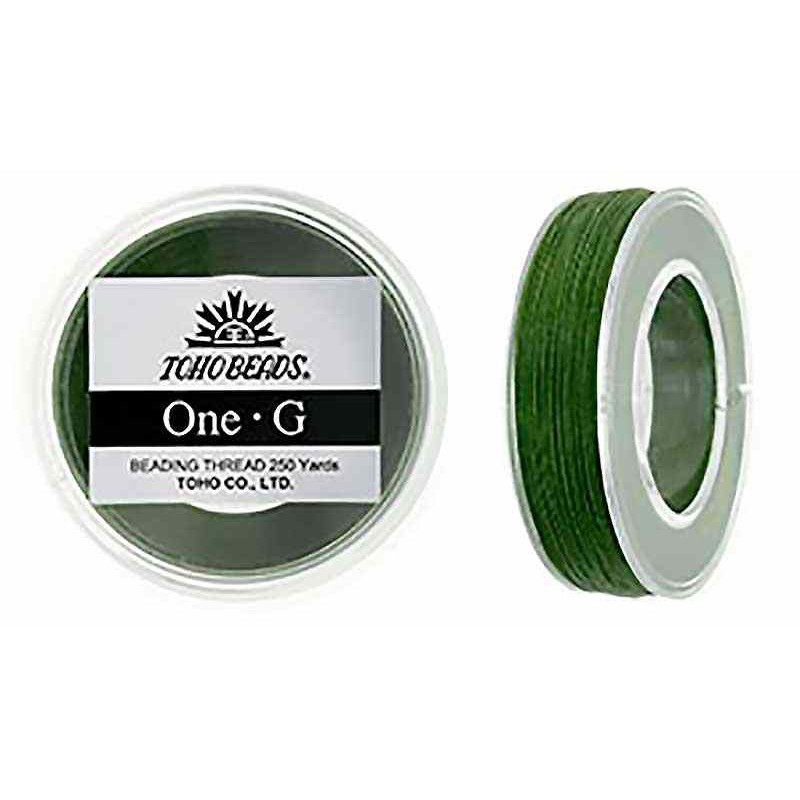 Green TOHO One-G Beading Thread Bobbin 228.6m (250yd) long