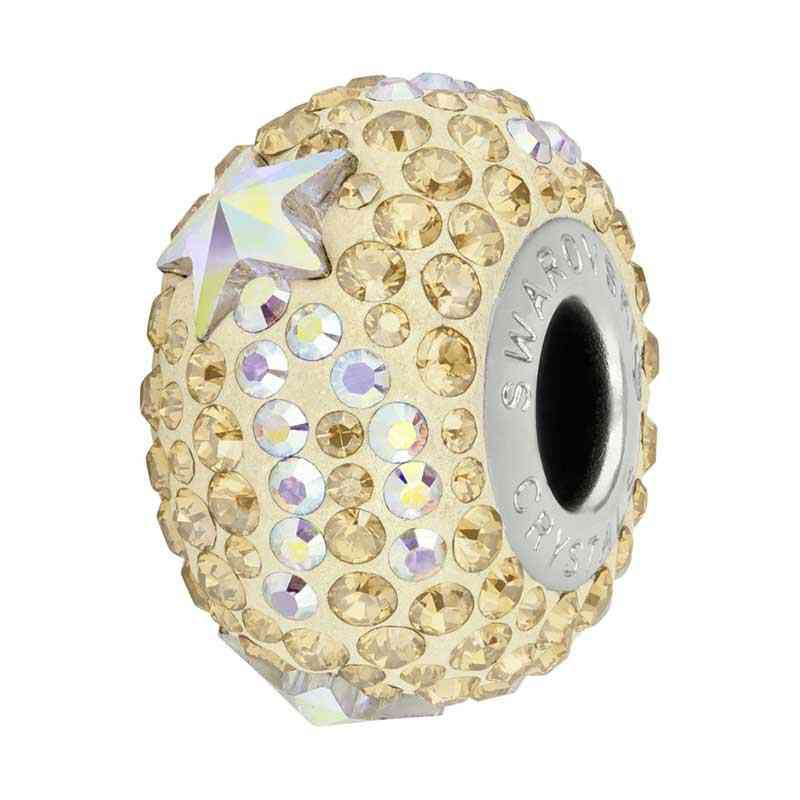 15mm Crystal Golden Shadow (001 GSHA) 81922 Shooting Star BeCharmed Pavé Bead Swarovski