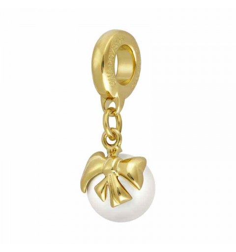 8mm Crystal White Pearl Gold 87010 Bow Charm BeCharmed Pavé Bead Swarovski