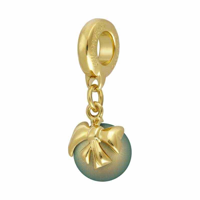 8mm Crystal Iridescent Green Pearl Gold 87010 Bow Charm BeCharmed Pavé Bead Swarovski