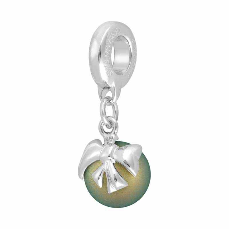 8mm Crystal Iridescent Green Pearl Rhodium 87010 Bow Charm BeCharmed Pavé Bead Swarovski