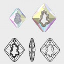 36MM Crystal Golden Shadow (001 GSHA) Growing Cr. Rhombus Pendant 6926 SWAROVSKI