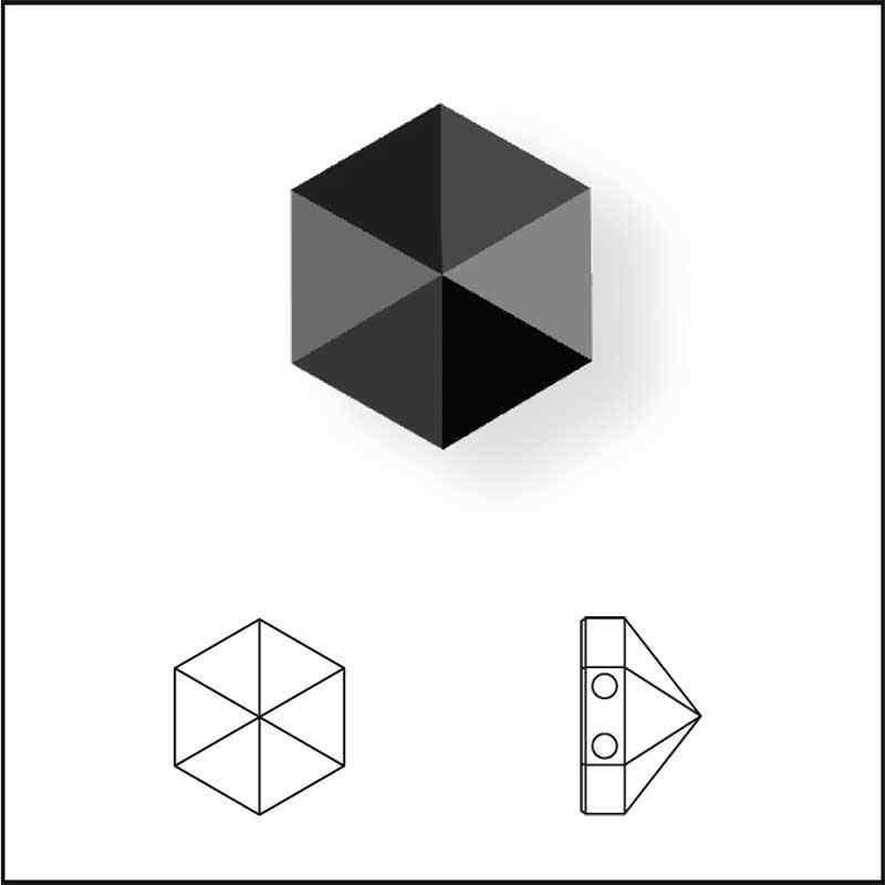 7.5MM Crystal Silver Night 5060 Hexagon Spike Beads SWAROVSKI