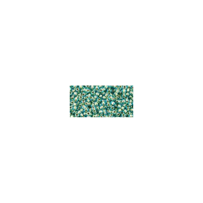 TR-11-284 Inside-Color Aqua/Gold-Lined TOHO Seed Beads