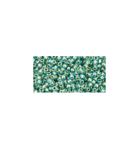 TR-11-284 Inside-Color Aqua/Gold-Lined TOHO Seed Beads