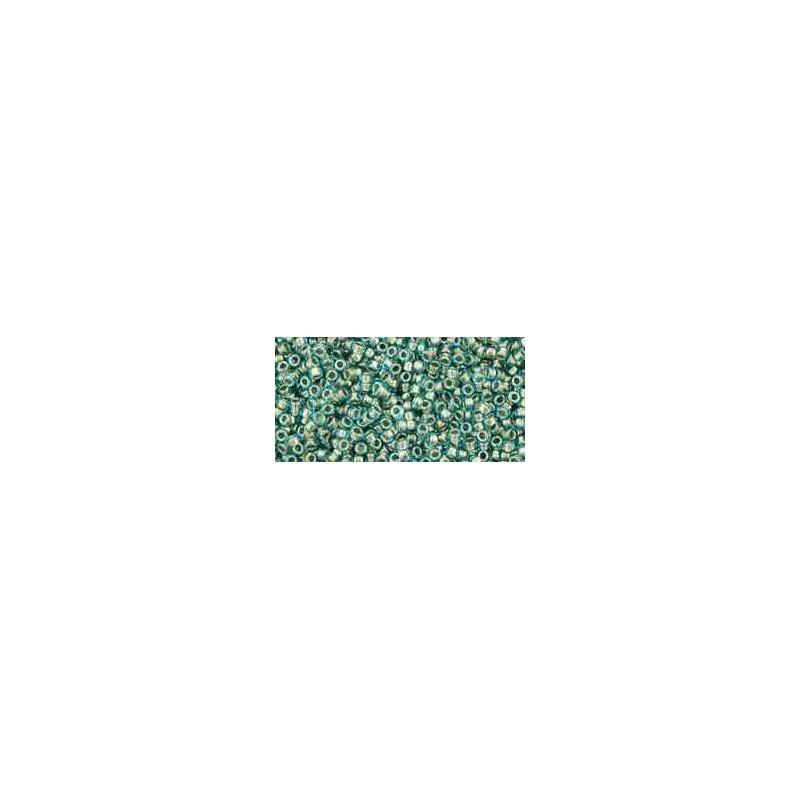 TR-15-284 Inside-Color Aqua/Gold-Lined TOHO Seed Beads