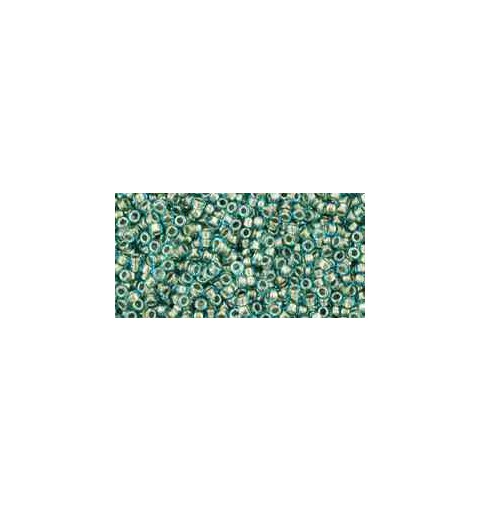 TR-15-284 Inside-Color Aqua/Gold-Lined TOHO Seed Beads