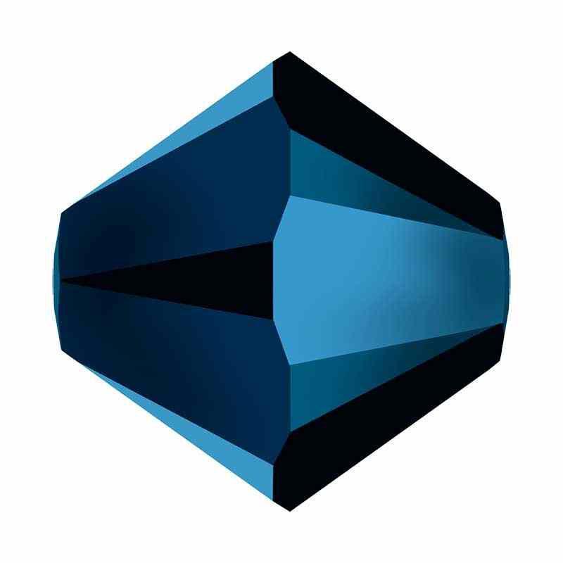 4MM Crystal Metallic Blue 2x 5328 XILION Bi-Cone Perles SWAROVSKI