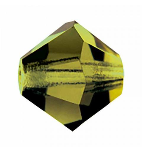 6MM Olivine BiCone Rondell Preciosa Beads