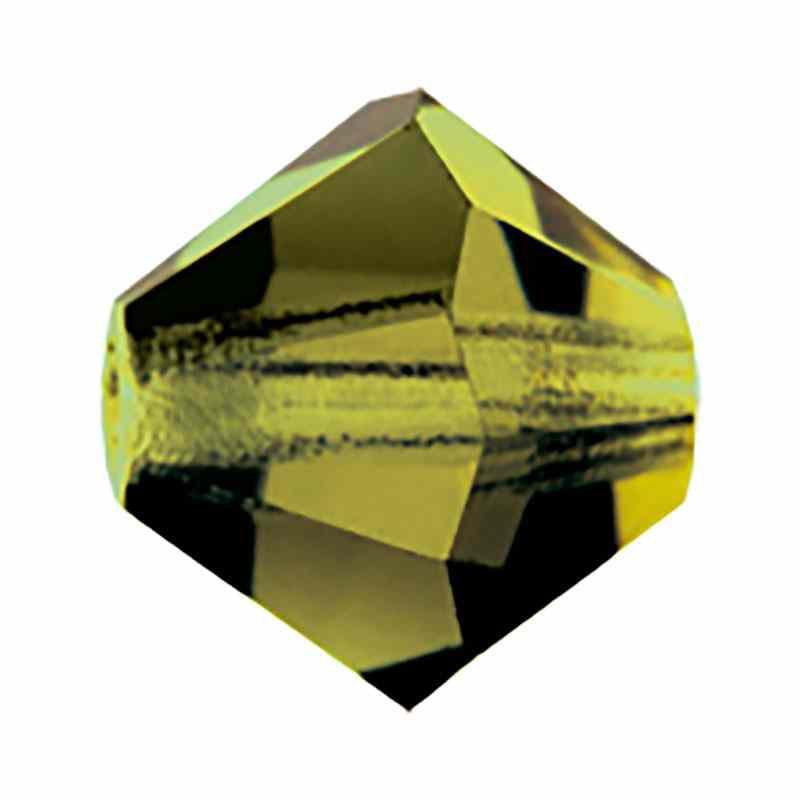 4MM Olivine BiCone Rondell Preciosa Beads