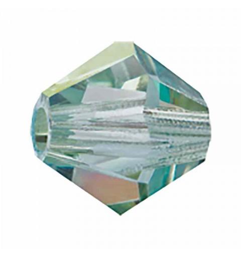 4MM Crystal Viridian BiCone Rondell Preciosa Beads
