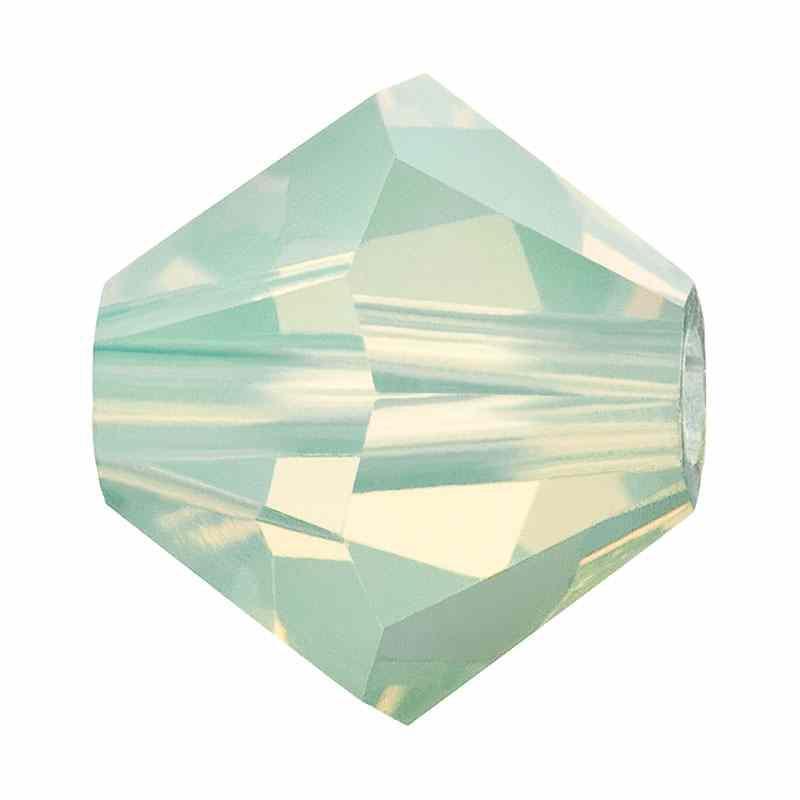 4MM Chrysolite Matt Bi-Cone Rondell Preciosa Beads