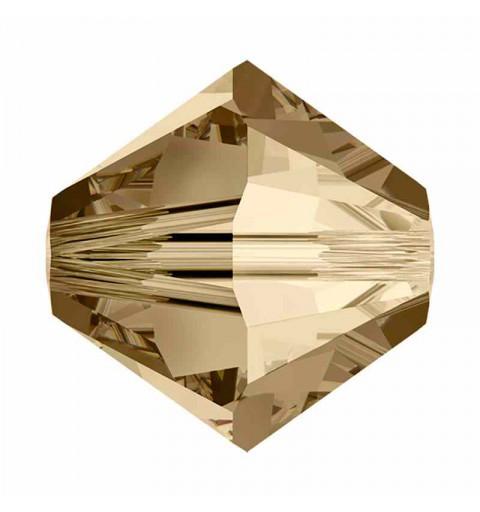 4MM Crystal Golden Shadow (001 GSHA) 5328 XILION Bi-Cone Beads SWAROVSKI ELEMENTS