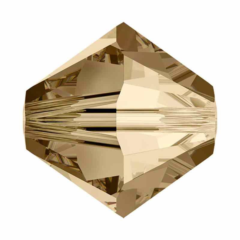 2.5MM Crystal Golden Shadow (001 GSHA) 5328 XILION Bi-Cone Beads SWAROVSKI ELEMENTS