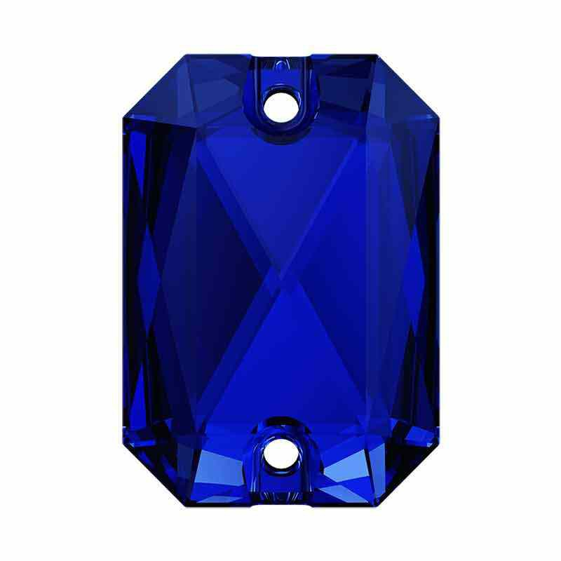 14X10MM Majestic Blue F 3252 Emerald Cut SWAROVSKI Sew-on Stone