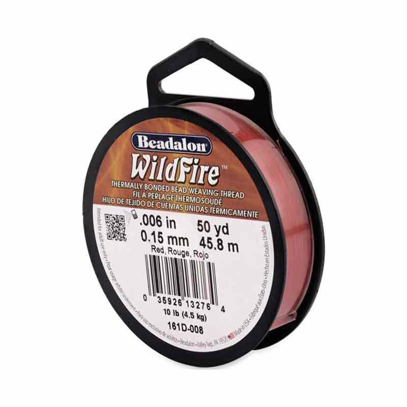 0.15mm WildFire Rouge Fil nylon tressé Beadalon 45.8m