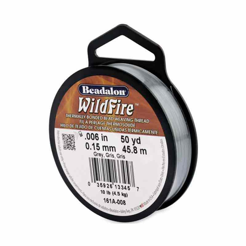 0.15mm WildFire Gris Fil nylon tressé Beadalon 45.8m