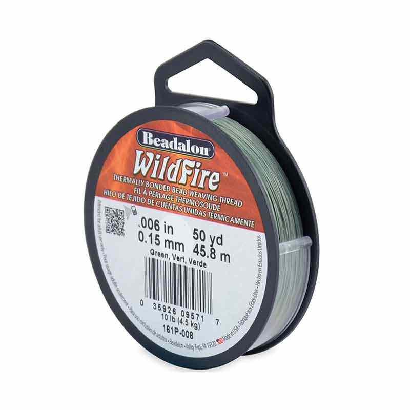 0.15mm WildFire Зеленая нейлоновая нить Beadalon 45.8m