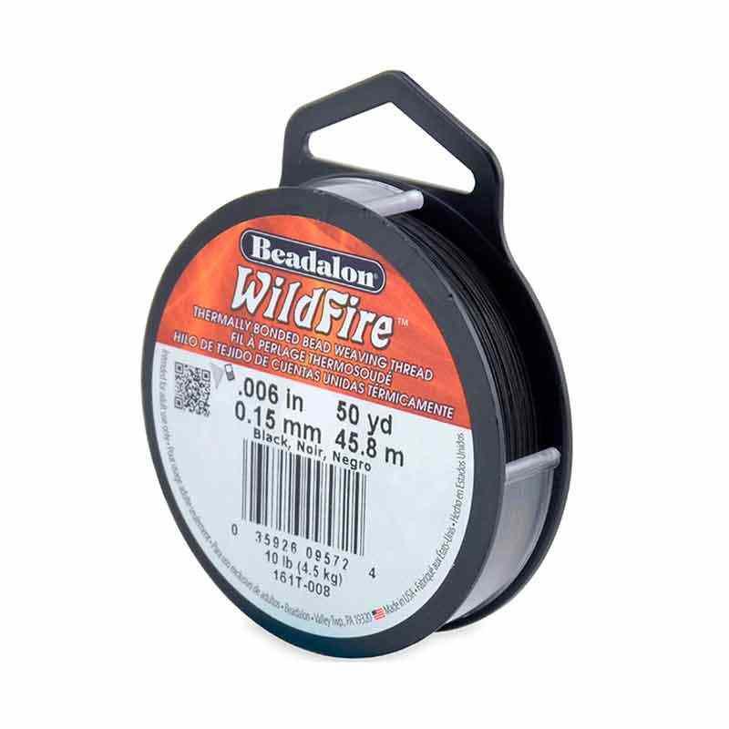 0.15mm WildFire Noir Fil nylon tressé Beadalon 45.8m