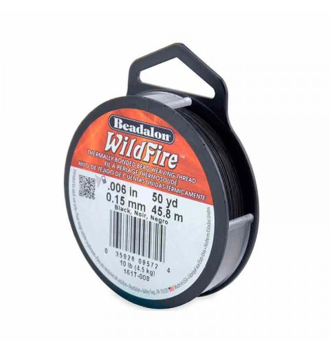 0.15mm WildFire Чёрная нейлоновая нить Beadalon 45.8m