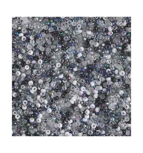 MIX-15-50 Salt and Pepper Miyuki Round Rocailles 15/0