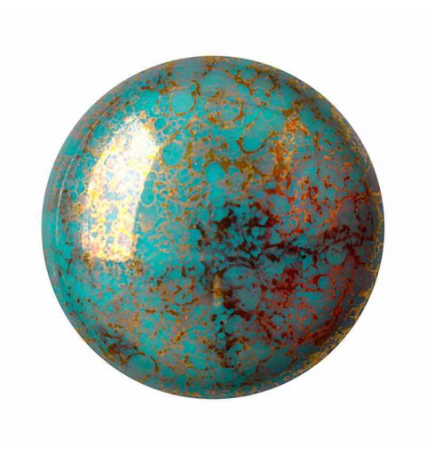 18mm Opaque Blue Turquoise Bronze Cabochons par Puca®