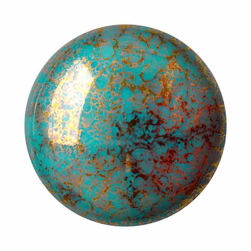 25mm Opaque Blue Turquoise Bronze Cabochonit par Puca®