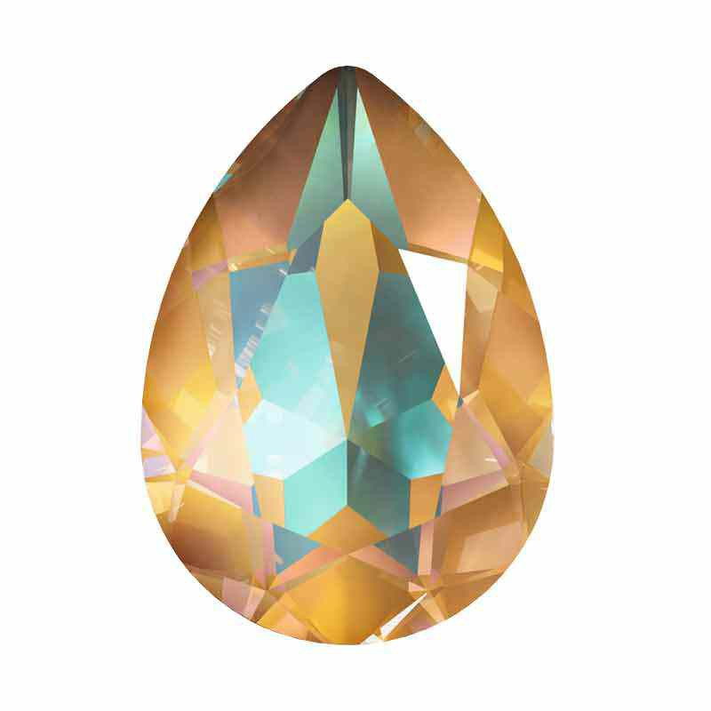 14x10mm Crystal Ochre DeLite Pear-Shaped Fancy Stone 4320 Swarovski