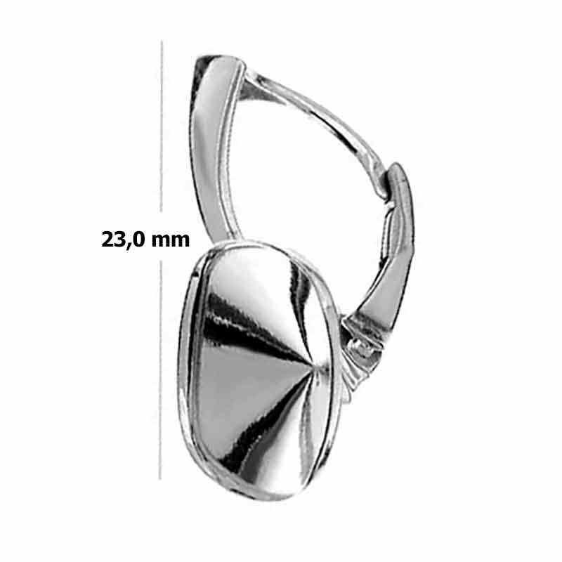 Для Cushion Square 4470 12mm Сваровски Серебрянная основа для серёжки с замком