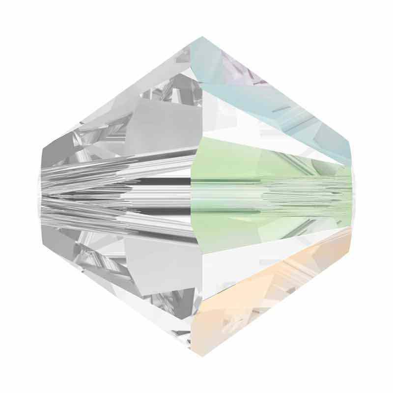 4MM Crystal AB SATIN (001 ABSAT) 5328 XILION Bi-Cone Beads SWAROVSKI ELEMENTS