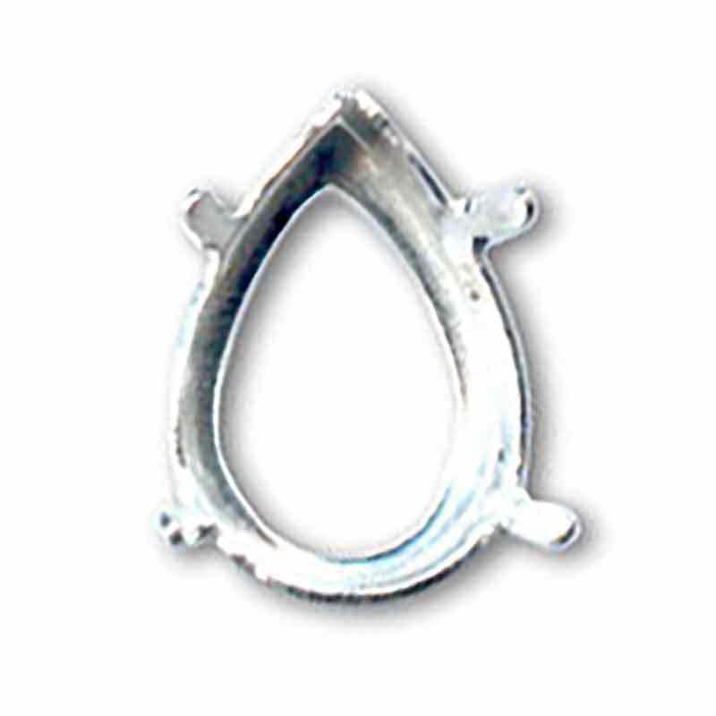 18x13mm Оправа для Сваровски Грушевидный 4320 цвет Серебра 4отвестия/4зажима