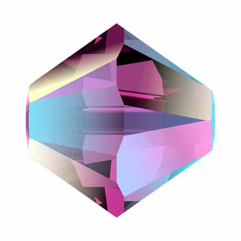 4MM Amethyst Shimmer 2x 5328 XILION Bi-Cone Perles SWAROVSKI
