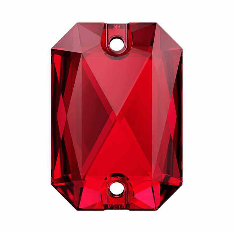 14X10MM Scarlet F 3252 Emerald Cut SWAROVSKI Sew-on Stone