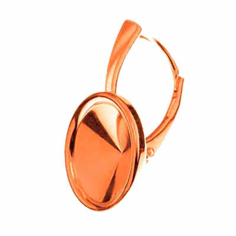 Для rivoli 1122 12mm Сваровски прибл. 24X15mm Серебрянная Розовым Позолоченая основа для серёжки с замком и рантиком