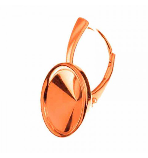 For rivoli 1122 12mm Swarovski approx. 24X15mm Silver Rose Gold Plated Lever back with setting and edge