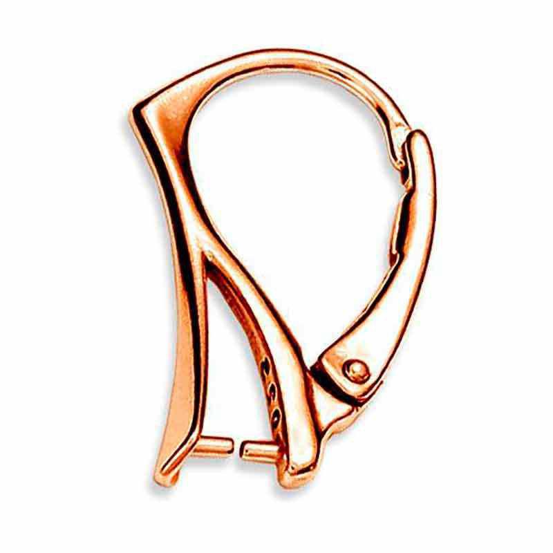 Серебрянная Розовая Позолота 18K основа для серёжки с замком 19x12MM для Сваровски
