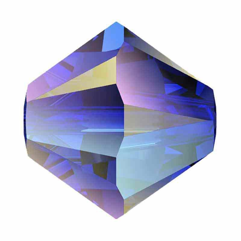 3MM Majestic Blue AB 2x 5328 XILION Bi-Cone Beads SWAROVSKI