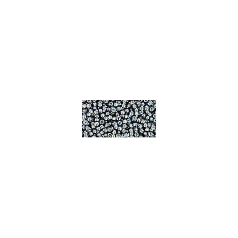 TR-11-371 Inside-Color Black Diamond/White-Lined TOHO Seed Beads