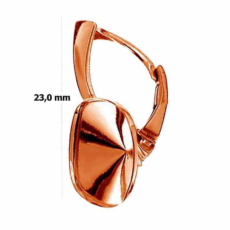 Для Cushion Square 4470 12mm Сваровски Серебрянная Розовая Позолота основа