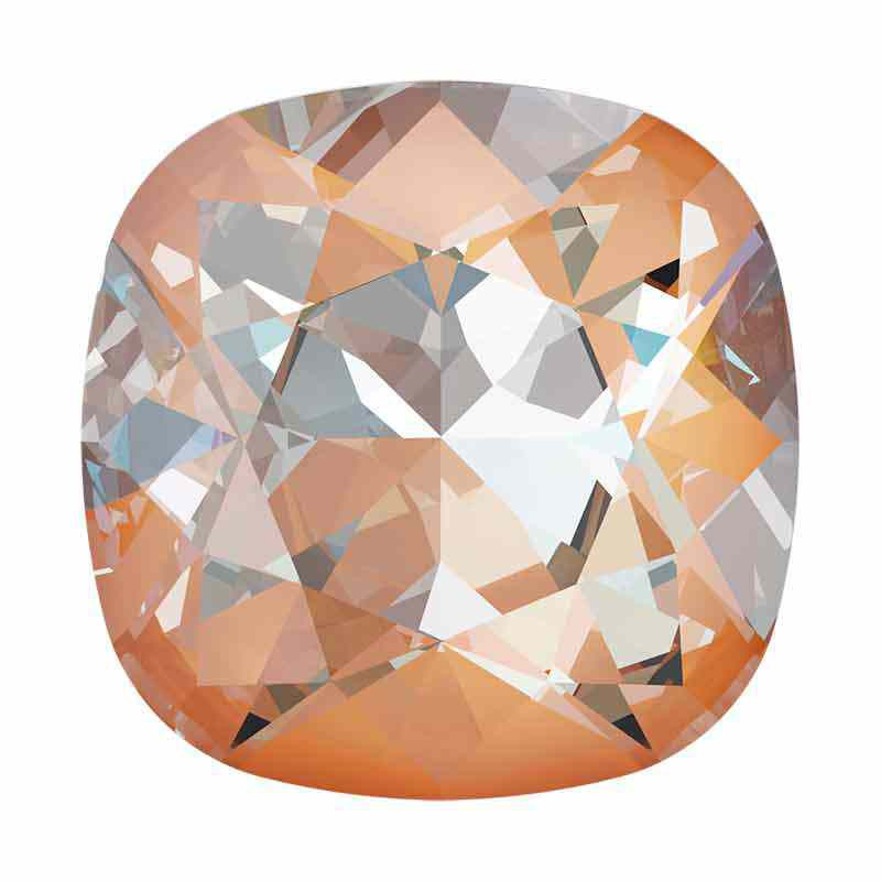 12mm Crystal Peach DeLite Cushion Square Fancy Stone 4470 Swarovski