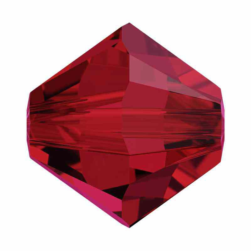 4MM Scarlet 5328 XILION Bi-Cone Beads SWAROVSKI