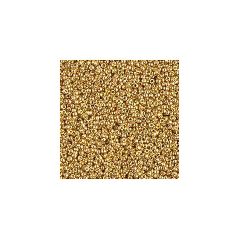 RR-15-4202 Duracoat Galvanized Gold Miyuki Round Seed Beads 15/0