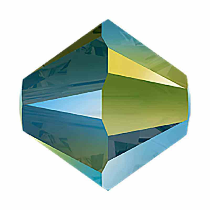 4MM Iridescent Green 2x 5328 XILION Bi-Cone Beads SWAROVSKI