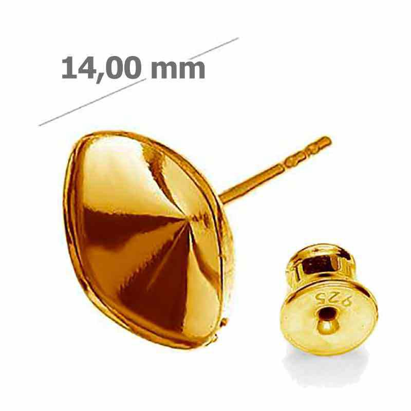 For 4470 10mm Swarovski Silver Gold Plated earing seting with stopper