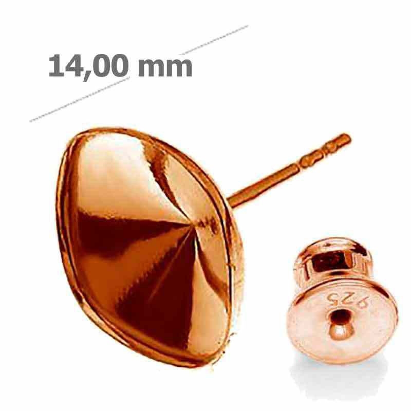 For 4470 10mm Swarovski Silver Rose-Gold Plated earing seting with stopper
