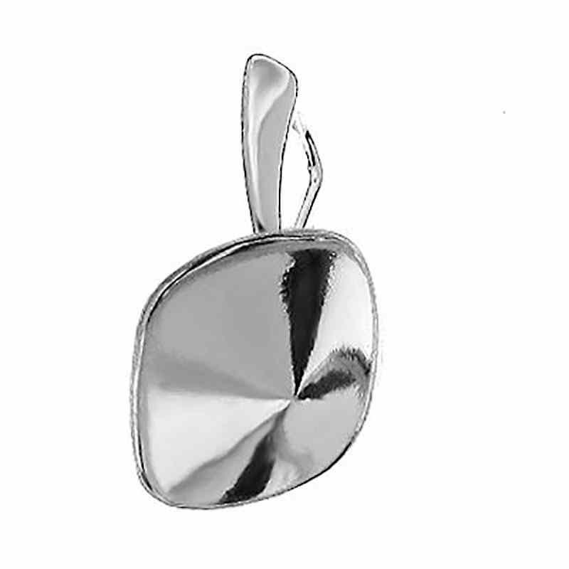Для Cushion Square 4470 10mm Сваровски Серебрянная основа для серёжки с замком