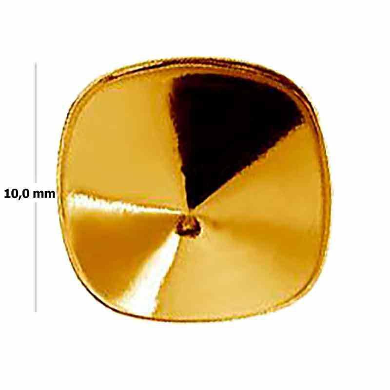 Cushion Square 4470 10mm Swarovski Silver Gold Plated setting