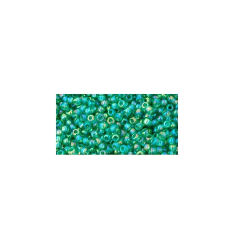 TR-11-164B TRANSPARENT-RAINBOW DARK PERIDOT SEED BEADS